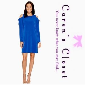 Michael Kor's Blue Jersey Cold Shoulder Dress